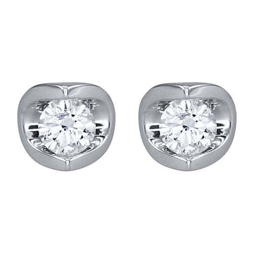 Tension Set Solitaire Canadian Diamond Stud Earrings in 14K White Gold (0.20ct tw)