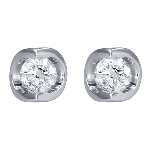 Tension Set Solitaire Canadian Diamond Stud Earrings in 14K White Gold (0.30ct tw)