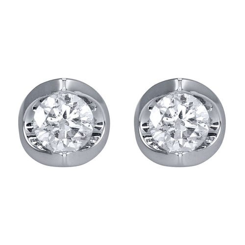 Tension Set Solitaire Canadian Diamond Stud Earrings in 14K White Gold (0.50ct tw)