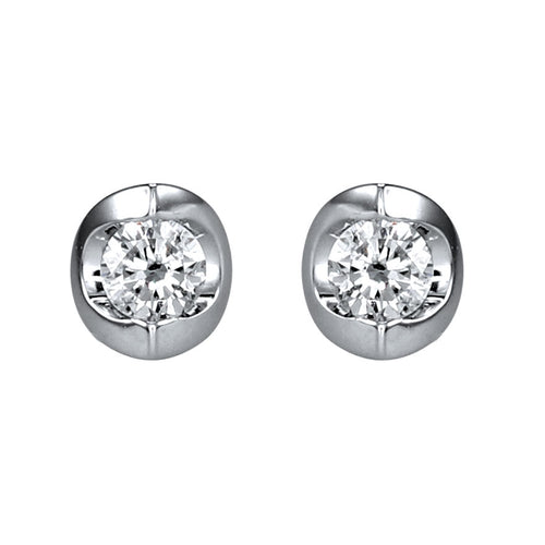 Tension Set Solitaire Canadian Diamond Stud Earrings in 14K White Gold (0.10ct tw)