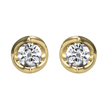 Load image into Gallery viewer, Tension Set Solitaire Canadian Diamond Stud Earrings in 14K Yellow Gold (0.15ct tw)