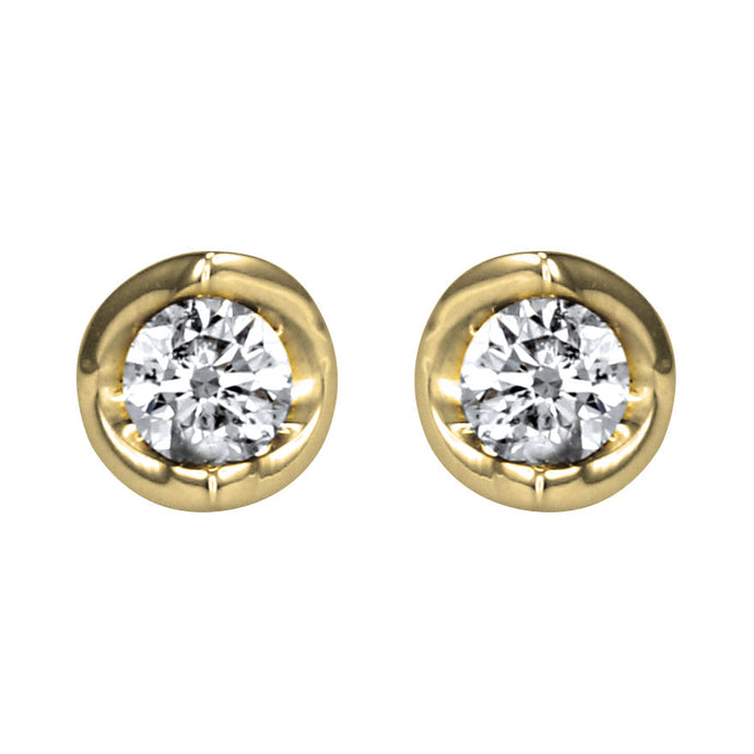 Tension Set Solitaire Canadian Diamond Stud Earrings in 14K Yellow Gold (0.15ct tw)