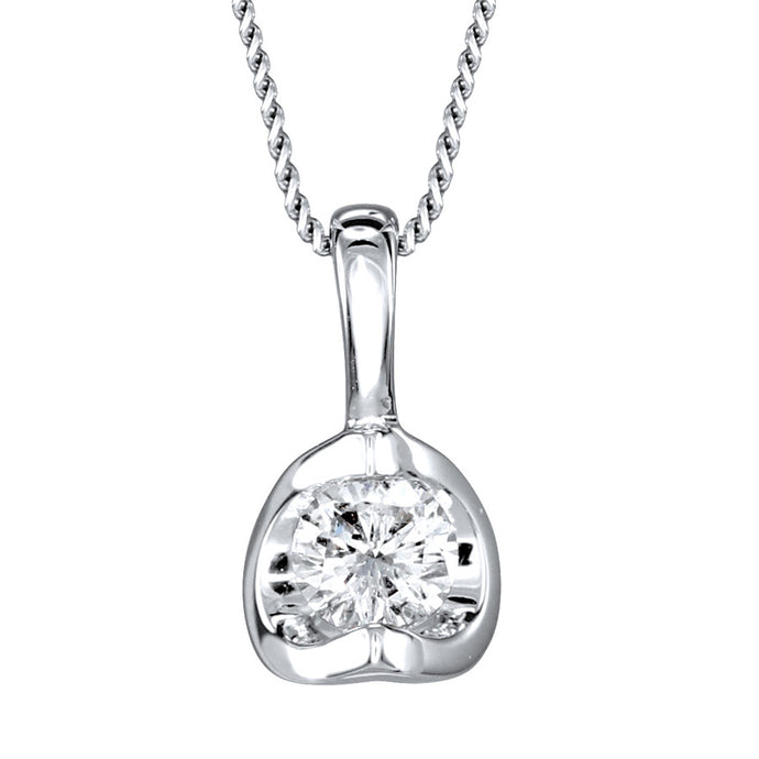 Tension Set Canadian Diamond Solitaire Necklace in 14K White Gold (0.10ct tw)