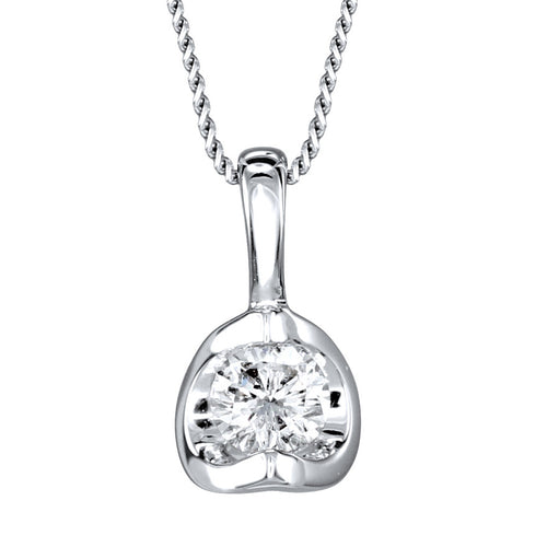 Tension Set Canadian Diamond Solitaire Necklace in 14K White Gold (0.15ct tw)
