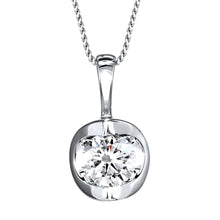 Load image into Gallery viewer, Tension Set Canadian Diamond Solitaire Necklace in 14K White Gold (0.40ct tw)