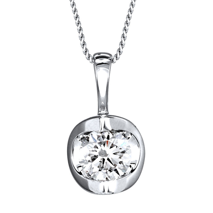 Tension Set Canadian Diamond Solitaire Necklace in 14K White Gold (0.40ct tw)