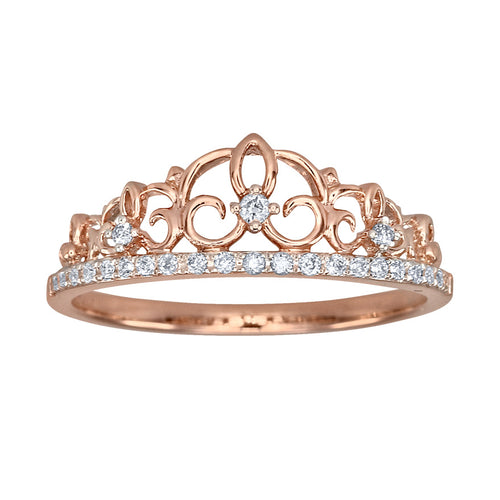Pavé Diamond Crown Ring in 10K Rose Gold (0.12ct tw)