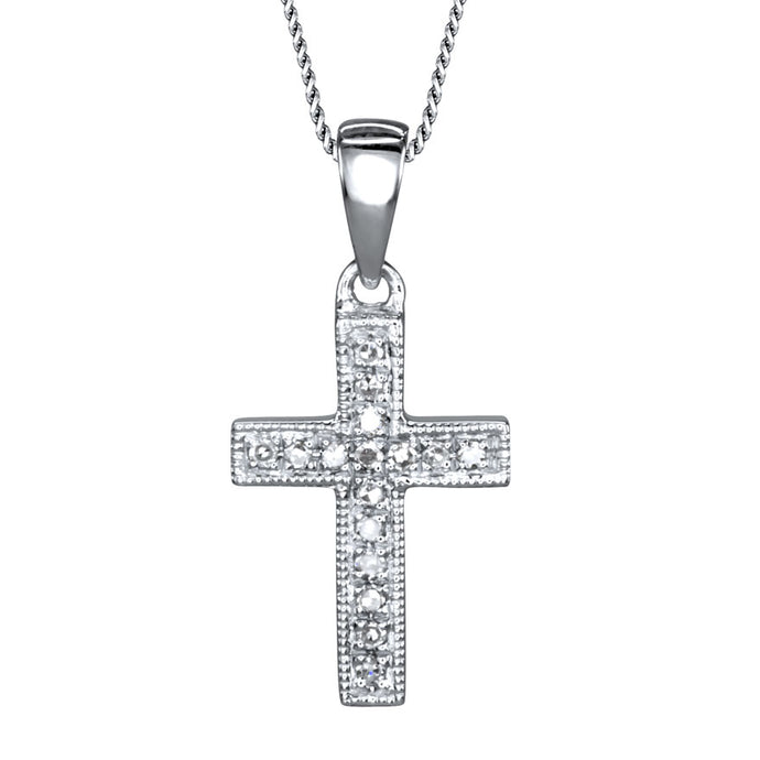 Pavé Diamond Cross Pendant in 10K White Gold with Chain (0.05ct tw)