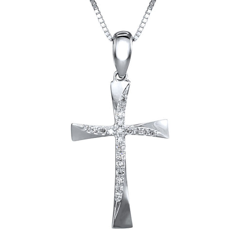 Diamond Accent Cross Pendant in 10K White Gold with Chain (0.05ct tw)