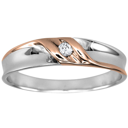Mens Solitaire Diamond Wedding Ring in 10K White and Rose Gold (0.05ct tw)