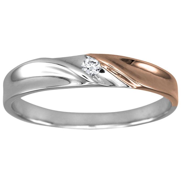 Mens Solitaire Diamond Wedding Band in 10K White and Rose Gold (0.05ct tw)
