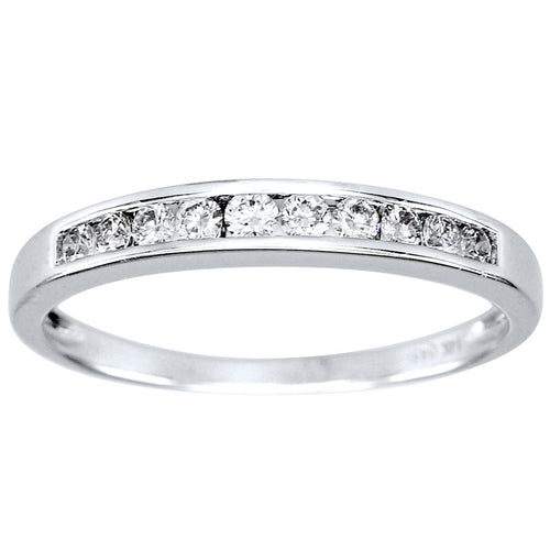 14K White Gold Channel-Set Diamond Wedding Band (0.25ct tw)
