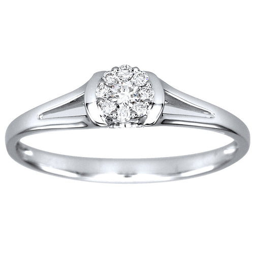 10K White Gold Diamond Cluster Promise Ring (0.11ct tw)