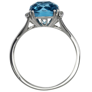 Rose Cut Blue Topaz and Diamond Ring in 10K White Gold (0.04ct tw)