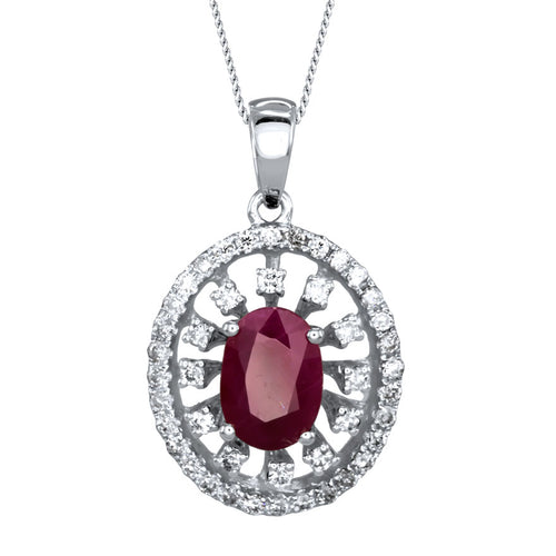 Oval Ruby Diamond Necklace in 10K White Gold (7 x 5mm)