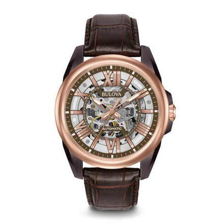 Bulova Men's Automatic Rose Gold and Leather Dress Watch | 98A165