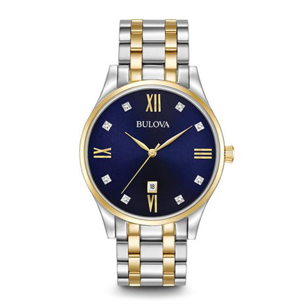 Bulova Men's Classic Two-Tone Watch with Blue Dial | 98D130