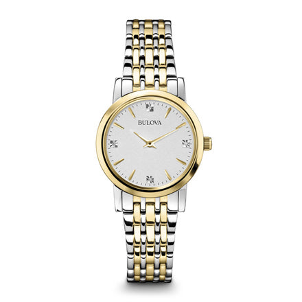 Bulova Women' Diamond Silver White Dial Bracelet Watch
