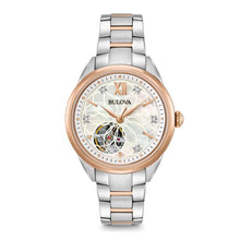 Load image into Gallery viewer, Bulova Women's Two-Tone Automatic Exhibition Back Diamond Dial Watch | 98P170