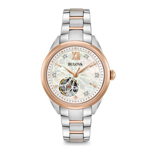 Bulova Women's Two-Tone Automatic Exhibition Back Diamond Dial Watch | 98P170
