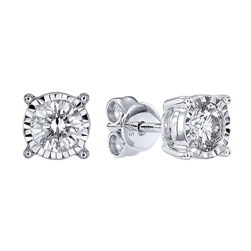 Miracle Mark Solitaire Diamond Stud Earrings in 14K White Gold (0.15 ct tw)