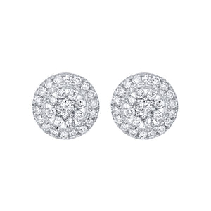 Round Cluster Diamond Stud Earrings in 14K White Gold (0.33 ct tw)