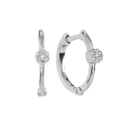 Diamond Hoop Earrings in 10K White Gold (0.04 ct tw)