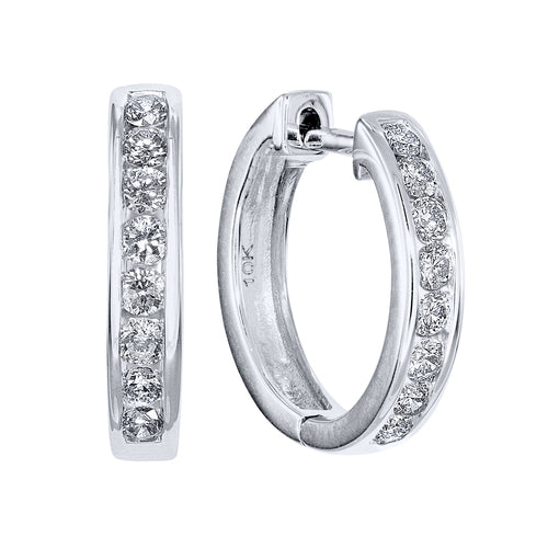 Hoop Channel Set Diamond Earrings in 10K White Gold (0.50ct tw)