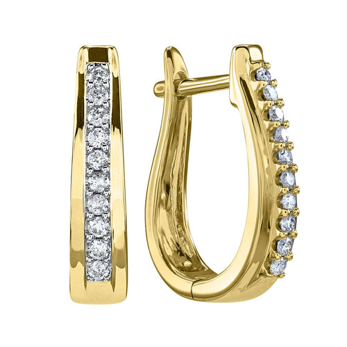 U-Hoop Diamond Earrings in 10K Yellow Gold (0.25 ct tw)