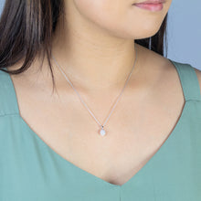 Load image into Gallery viewer, Diamond Cluster Necklace in 10K White Gold with Chain (0.17ct tw)