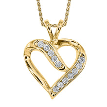 Load image into Gallery viewer, Diamond Cluster Heart Shaped Pendant in 10K Yellow Gold (0.06 ct tw)