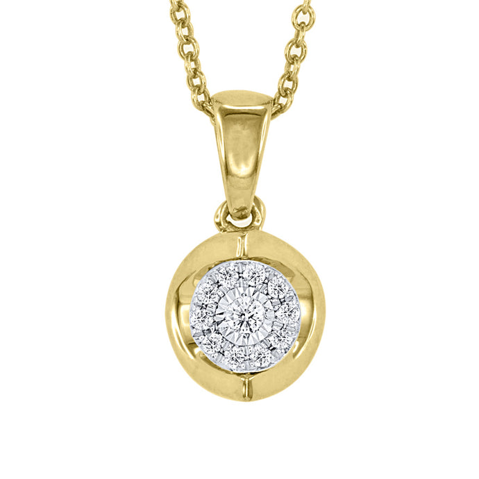 Diamond Cluster Pendant Necklace in 10K Yellow and White Gold (0.07ct tw)