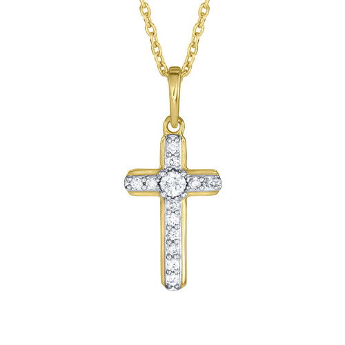 10K Yellow Gold Cross Pendant (0.10 ct tw)