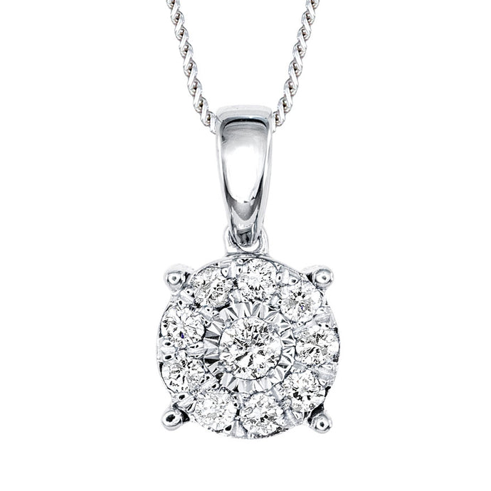 Diamond Cluster Necklace in 10K White Gold (0.15 ct tw)