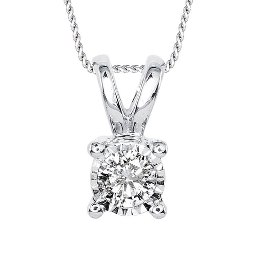 Diamond Solitaire Necklace In White Gold