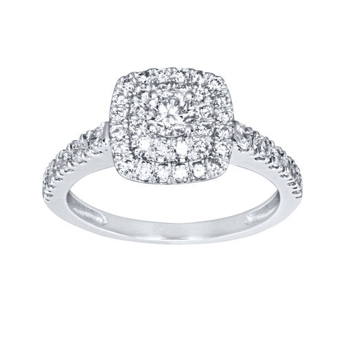 Double Halo Diamond Ring in 14K White Gold (0.74ct tw)