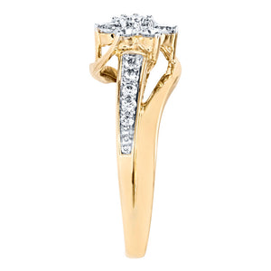 Flower Cluster Diamond Ring in 10K Yellow Gold (0.62ct tw)