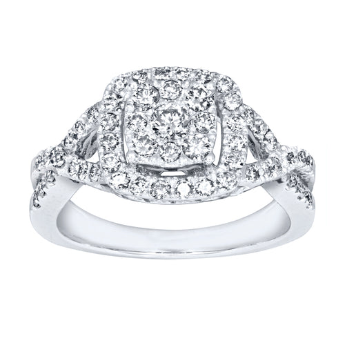 Halo Diamond Cluster Engagement Ring in 10K White Gold (0.80ct tw)