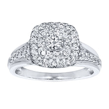 Load image into Gallery viewer, Double Halo Engagement Ring in 14K White Gold (0.82ct tw)
