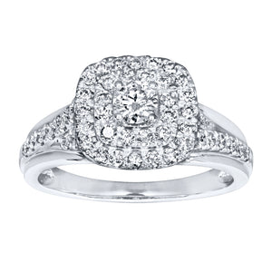 Double Halo Engagement Ring in 14K White Gold (0.82ct tw)