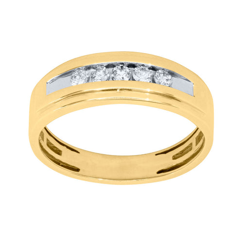Gents Channel Set Diamond Ring in 10K Yellow Gold (0.25 ct tw)