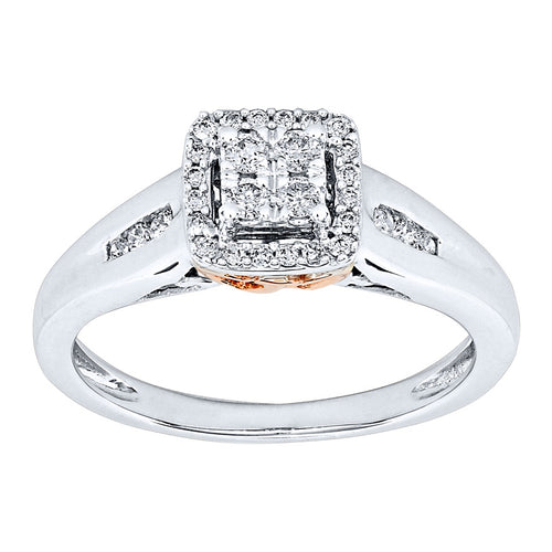 Diamond Halo Cluster Ring in 10K White and Rose Gold (0.25ct tw)