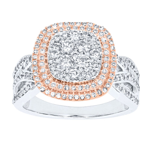 Two-Tone Diamond Cluster Ring (1.00ct tw)