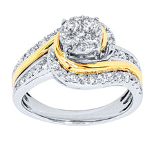 Load image into Gallery viewer, One Carat Diamond Cluster Ring in 10K White and Yellow Gold (1.00ct tw)