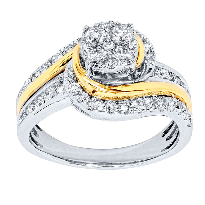 One Carat Diamond Cluster Ring in 10K White and Yellow Gold (1.00ct tw)