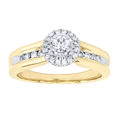 10K Yellow and White Gold Halo Diamond Engagement Ring (0.50ct tw)