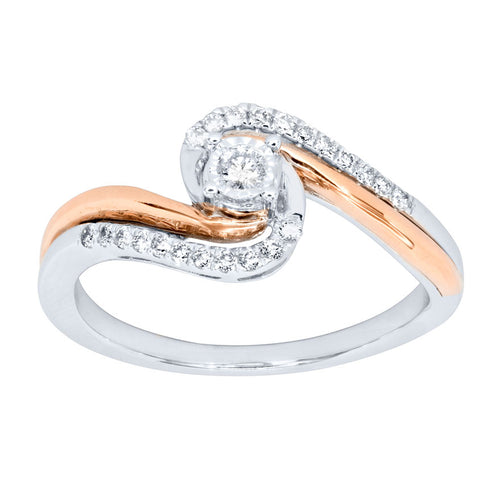 Two-Tone Diamond Promise Ring in 10K White and Rose Gold (0.15 ct tw)