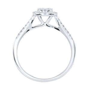 Oval Diamond Cluster Ring in 10K White Gold (0.40ct tw)