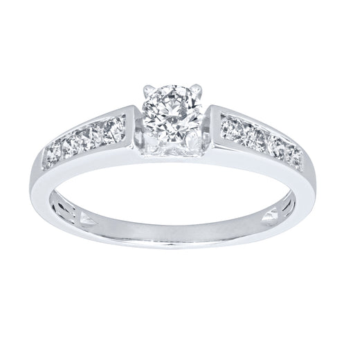 Channel Set Diamond Engagement Ring in 14K White Gold (0.60ct tw)