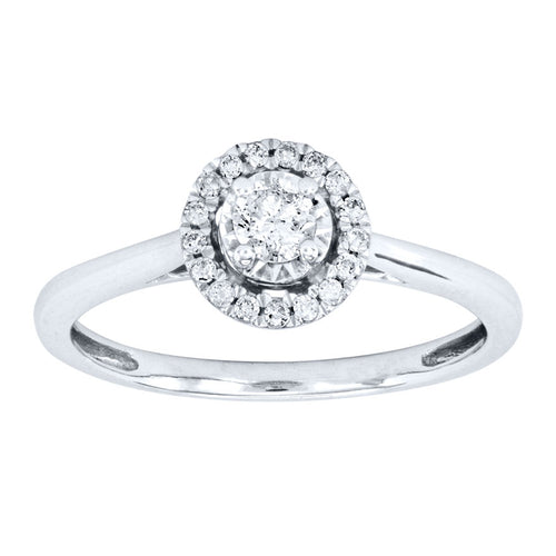 Round Halo Diamond Ring in 10K White Gold (0.25ct tw)